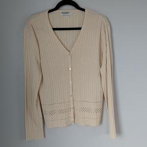 Holt Renfrew silk cream button down long sleeve cardigan size L